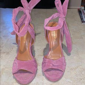 Pink Suede heels worn ONCE !